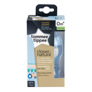 Tommee Tippee Decorated Bottle (Super Sensitive Anti-Colic Valve) - 9oz/260ml Blue